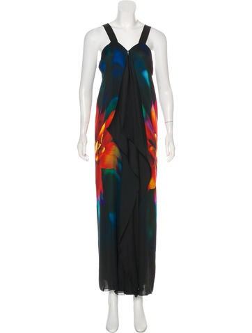 Roberto Cavalli Draped Silk Maxi Dress None