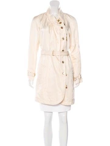 Roberto Cavalli Belted Silk Coat None