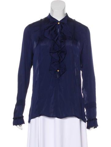 Roberto Cavalli Long Sleeve Silk Blouse None