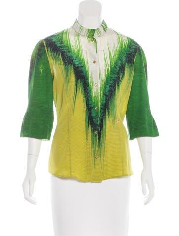 Roberto Cavalli Silk Button-Up Blouse None