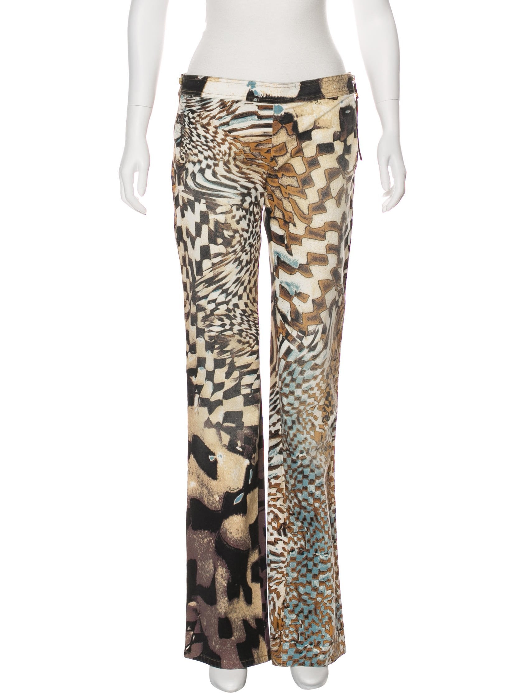 42e8f47309908 Roberto Cavalli Abstract Print Mid-Rise Flared Pants w/ Tags ...
