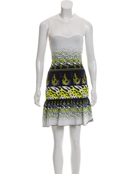 Roberto Cavalli Flared Brocade Dress White