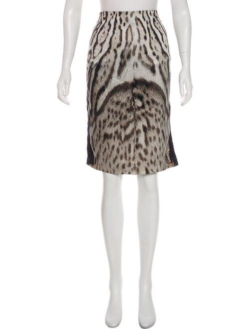 Roberto Cavalli Leopard Print Skirt Grey