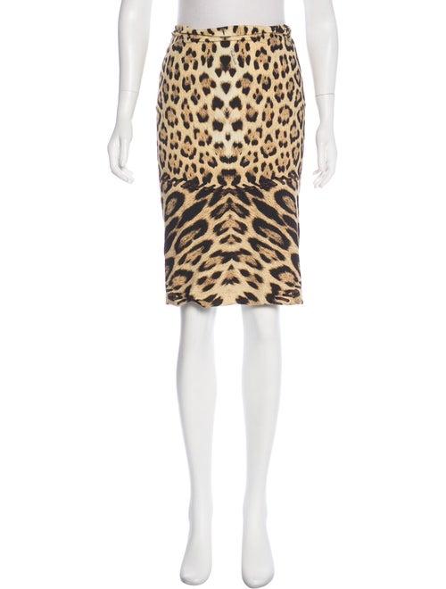 Roberto Cavalli Leopard Print Pencil Skirt Beige