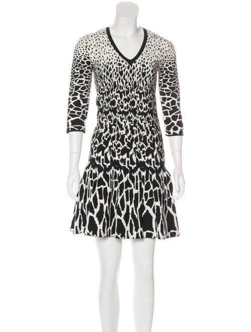 Roberto Cavalli Long Sleeve V-Neck Dress White