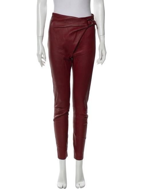 Roberto Cavalli Leather Skinny Leg Pants Red