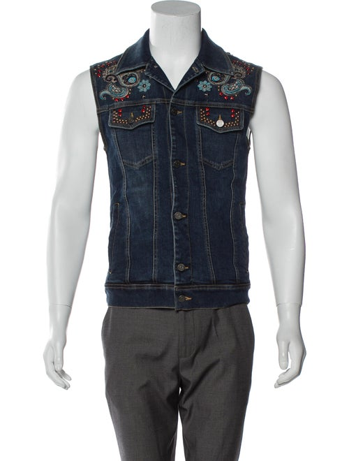 Roberto Cavalli Embellished Denim Vest blue