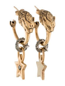 Roberto Cavalli Crystal Circus Lion Hoop Earrings