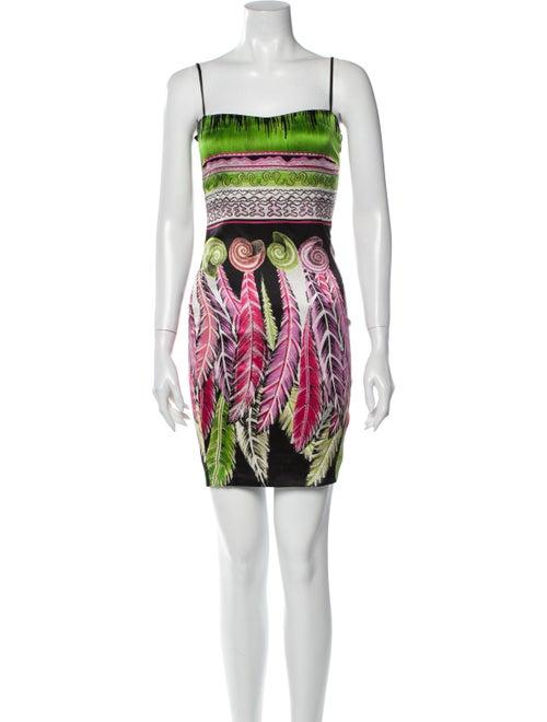 Roberto Cavalli Silk Mini Dress Green