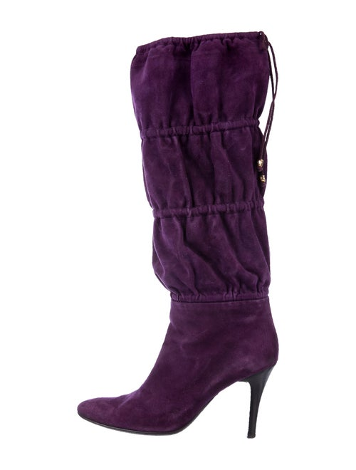Roberto Cavalli Suede Slouch Boots Purple