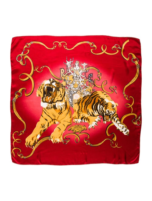 Roberto Cavalli Printed Square Scarf Red