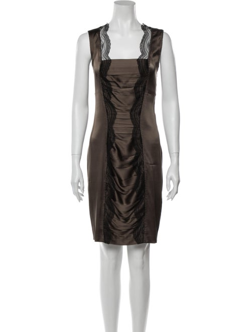 Roberto Cavalli Silk Knee-Length Dress Green