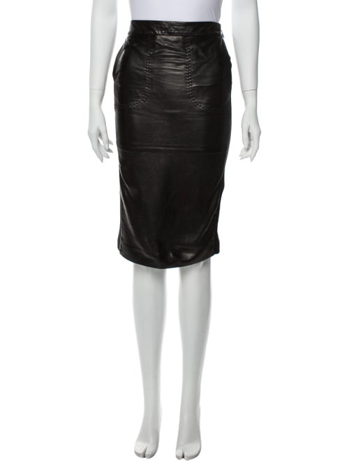 Roberto Cavalli Leather Knee-Length Skirt Black