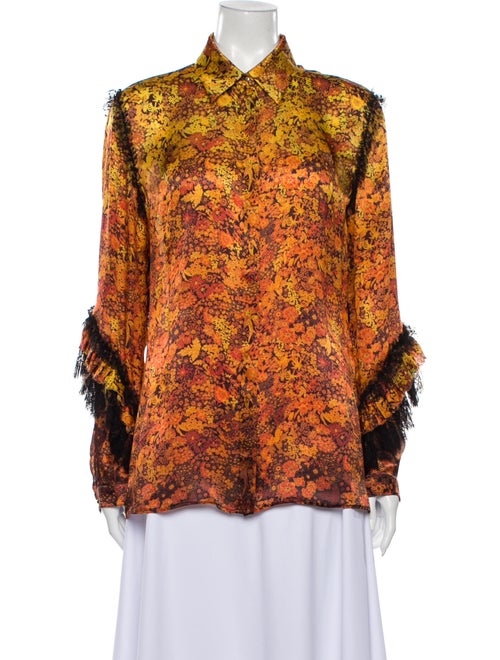 Roberto Cavalli Silk Floral Print Button-Up Top Ye