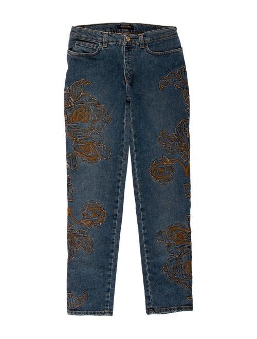 Roberto Cavalli Mid-Rise Straight Leg Jeans Blue