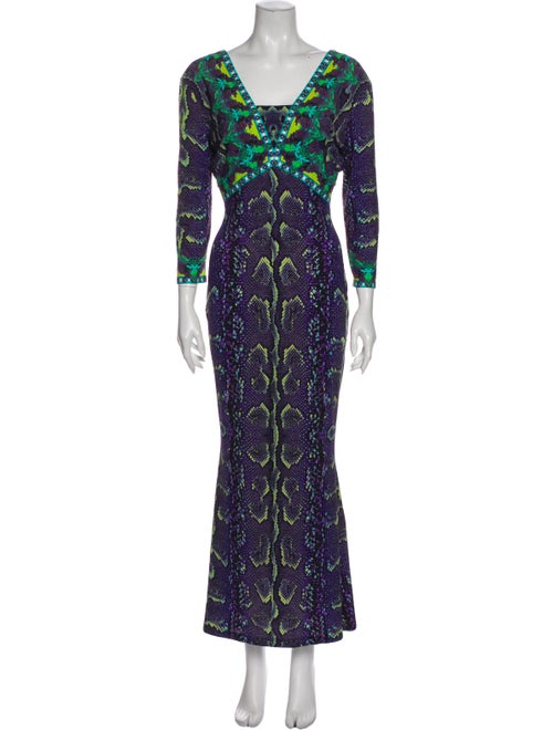 Roberto Cavalli Printed Long Dress Purple