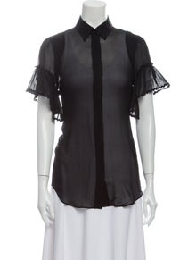 Roberto Cavalli Short Sleeve Button-Up Top