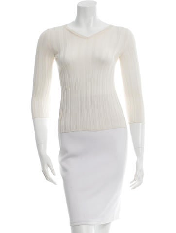 Rochas Long Sleeve Rib Knit Top None
