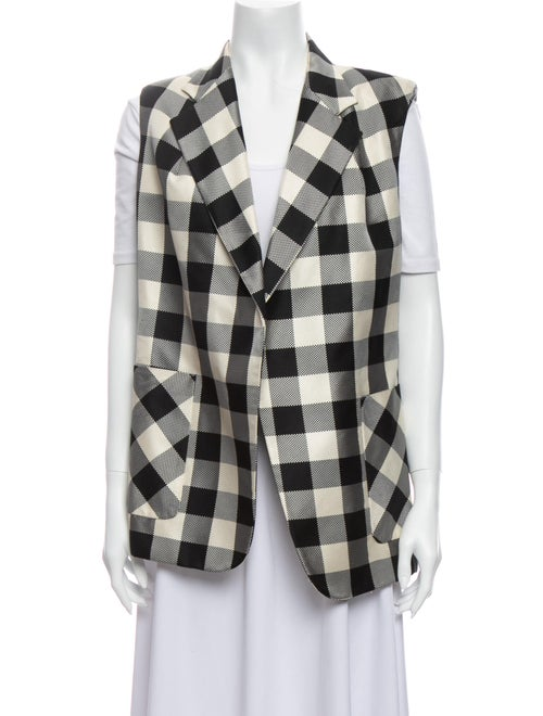 Rochas Silk Plaid Print Vest