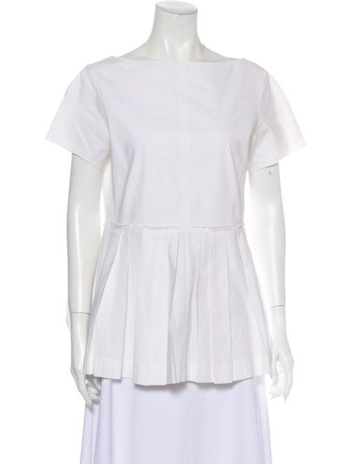 Rochas Bateau Neckline Short Sleeve T-Shirt White