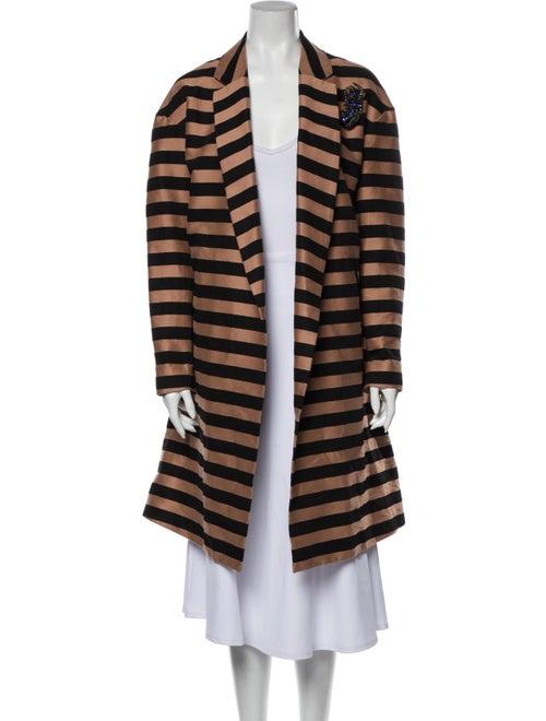 Rochas Striped Coat Black
