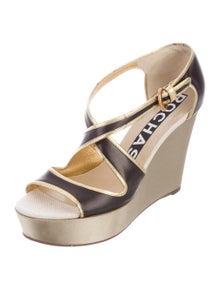 Rochas Leather Animal Print Sandals