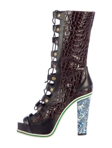 Embossed Lace-Up Boots
