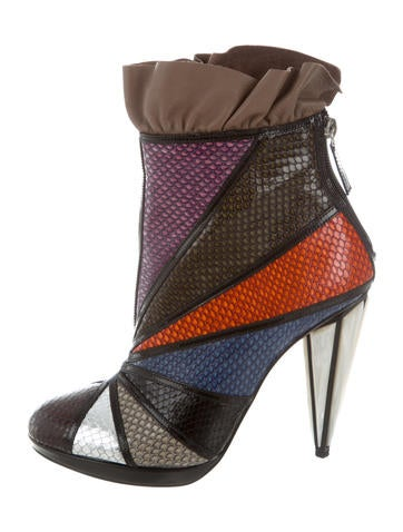 Rodarte Embossed Leather Ruffle Ankle Boots w/ Tags prices sale online pI8wst