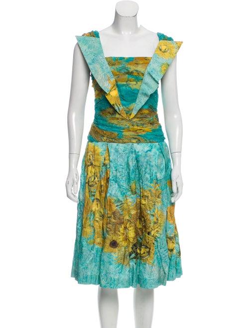 Rodarte Printed Midi Dress Turquoise