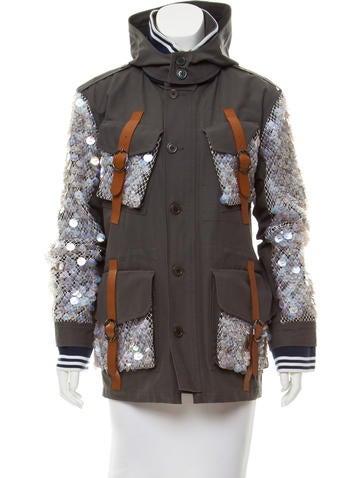 Rodarte Leather-Trimmed Embellished Jacket None