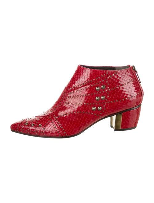 Rodarte 2017 Embossed Boots Red