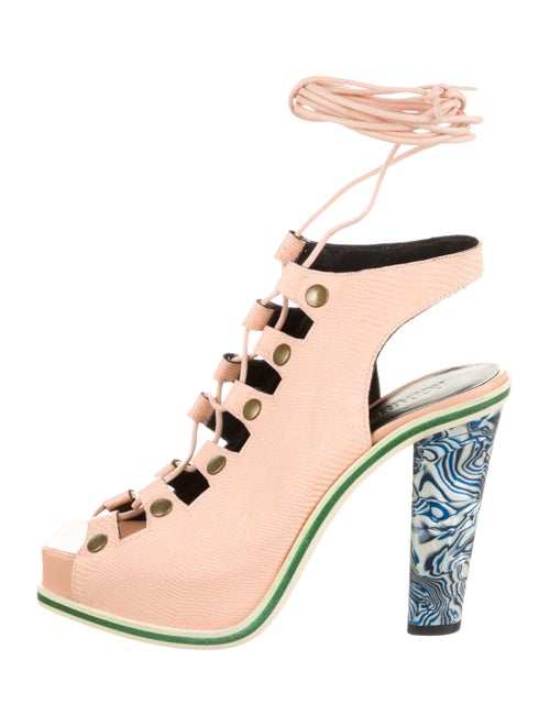 Rodarte Embossed Lace-Up Sandals Pink
