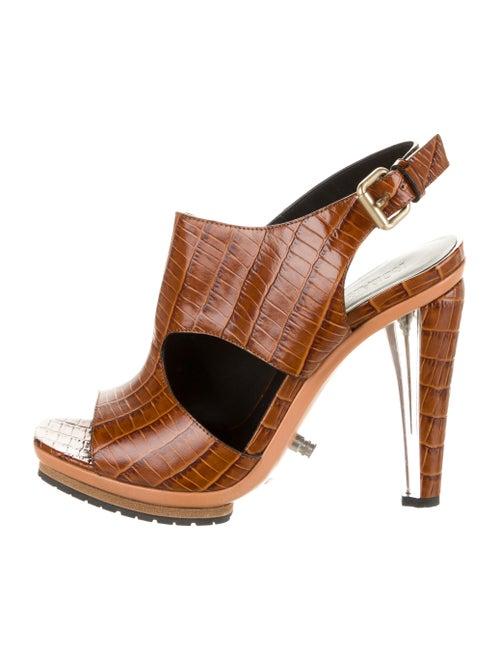 Rodarte Embossed Leather Sandals Brown