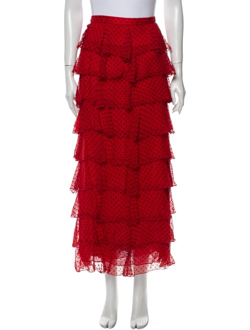 Rodarte Silk Long Skirt Red