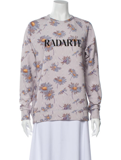 Rodarte Floral Print Crew Neck Sweater Purple