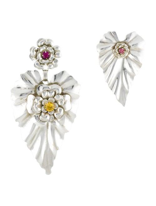 Rodarte Silver Leaf Earrings Brass