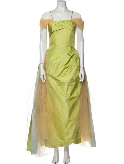 Rodarte Silk Long Dress Green
