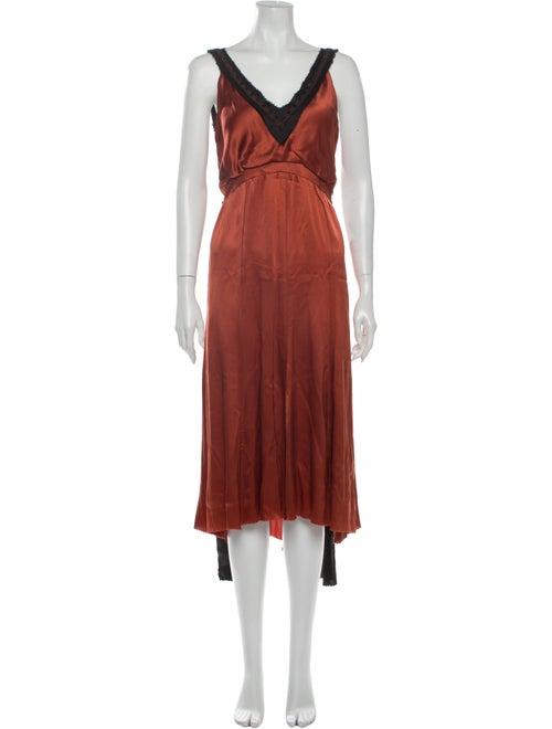 Rodarte Silk Long Dress Orange