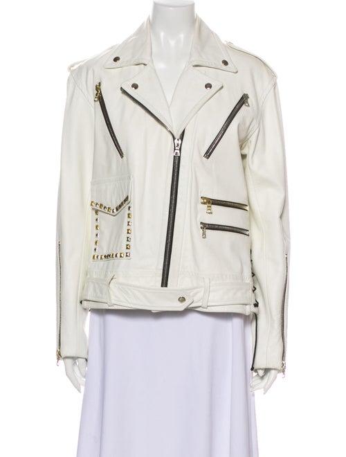 Rodarte Leather Biker Jacket White