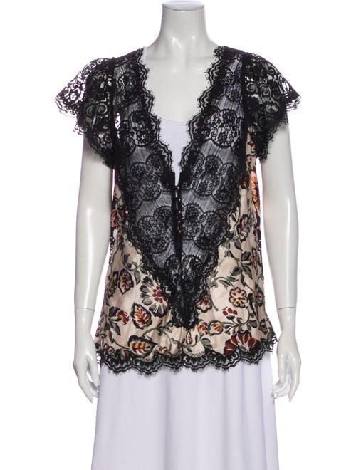 Rodarte Silk Lace Pattern Blouse