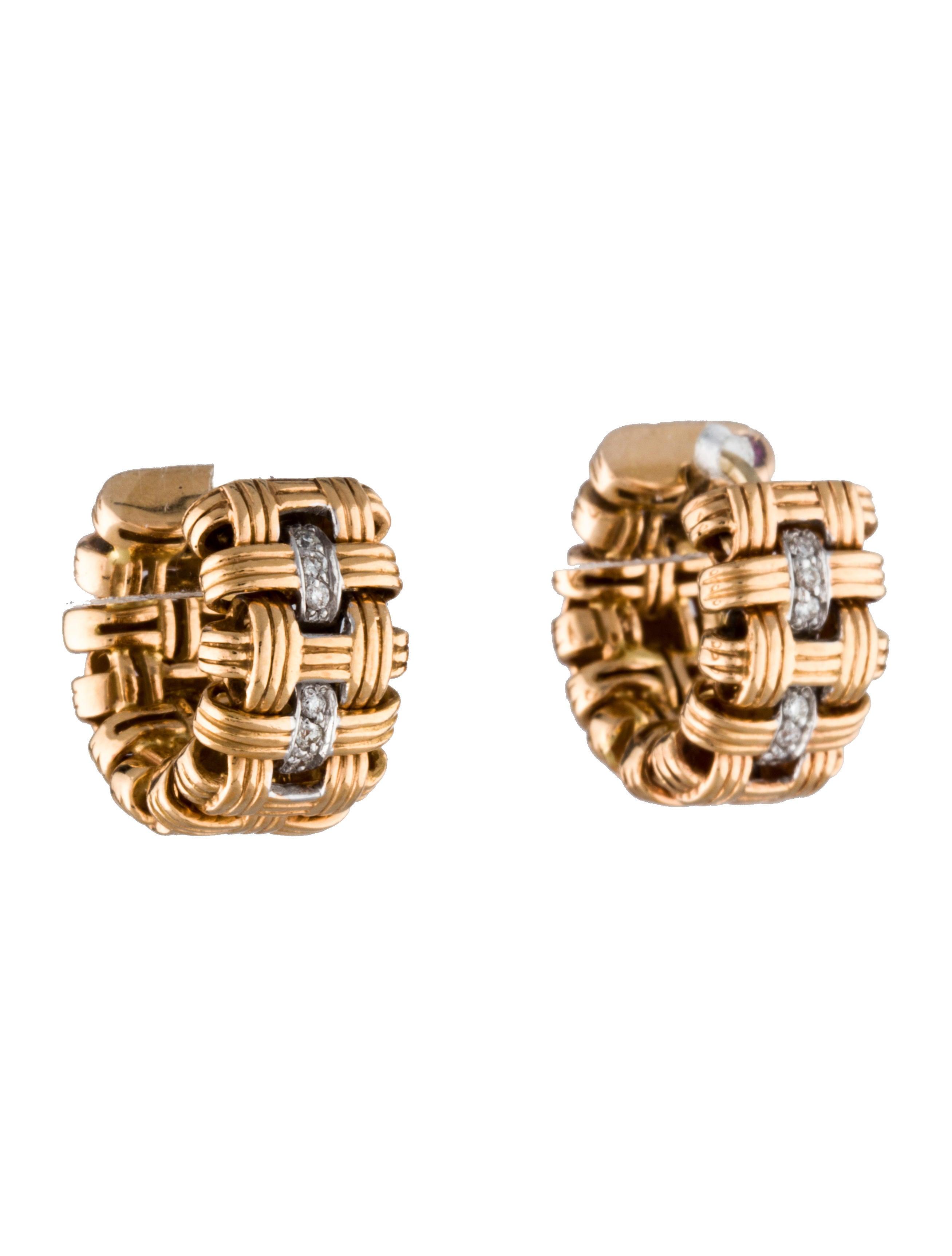 Basket Weaving Jewelry : Roberto coin basket weave earrings roe