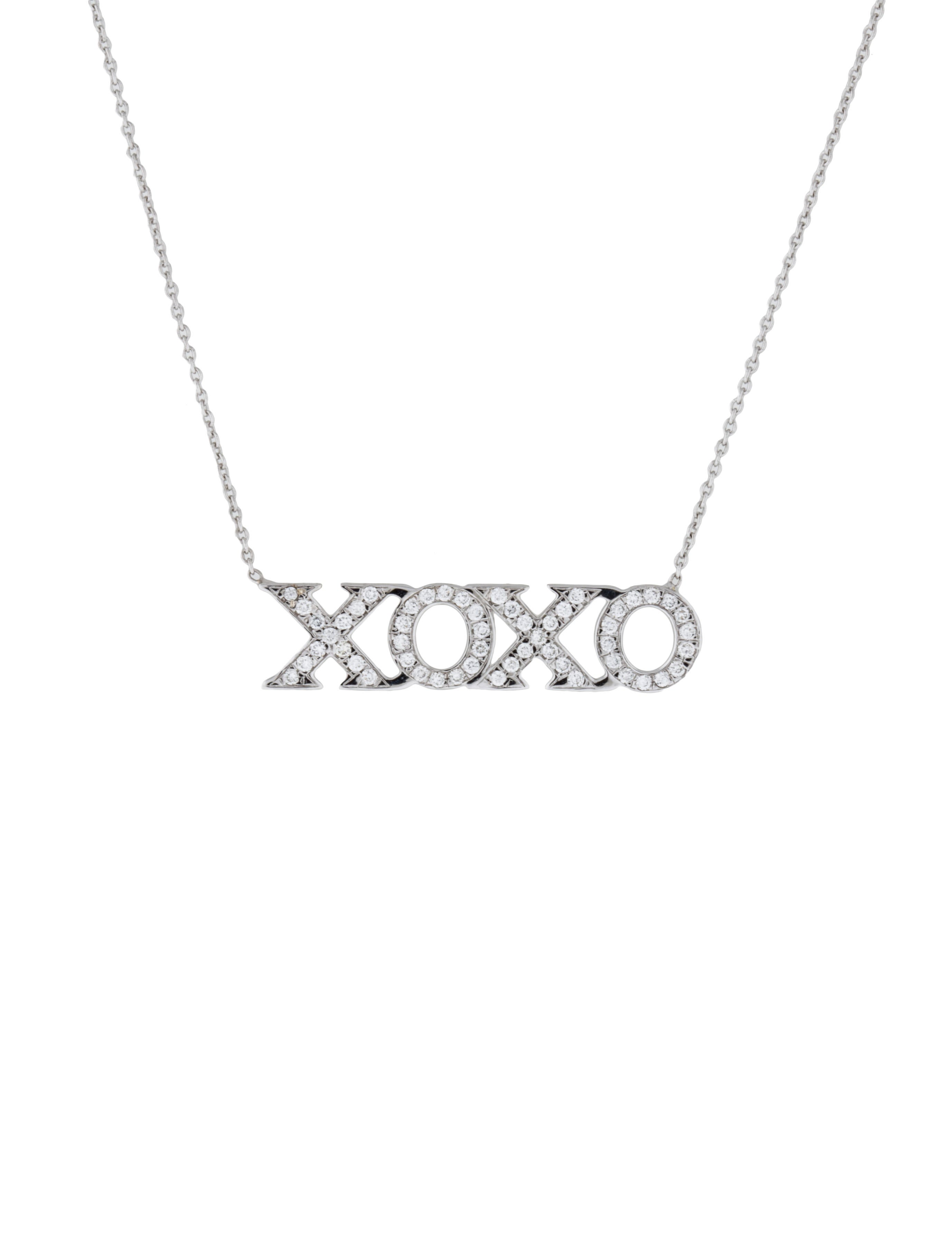 Roberto Coin 18k White Gold Diamond XOXO Necklace pBxsOJN