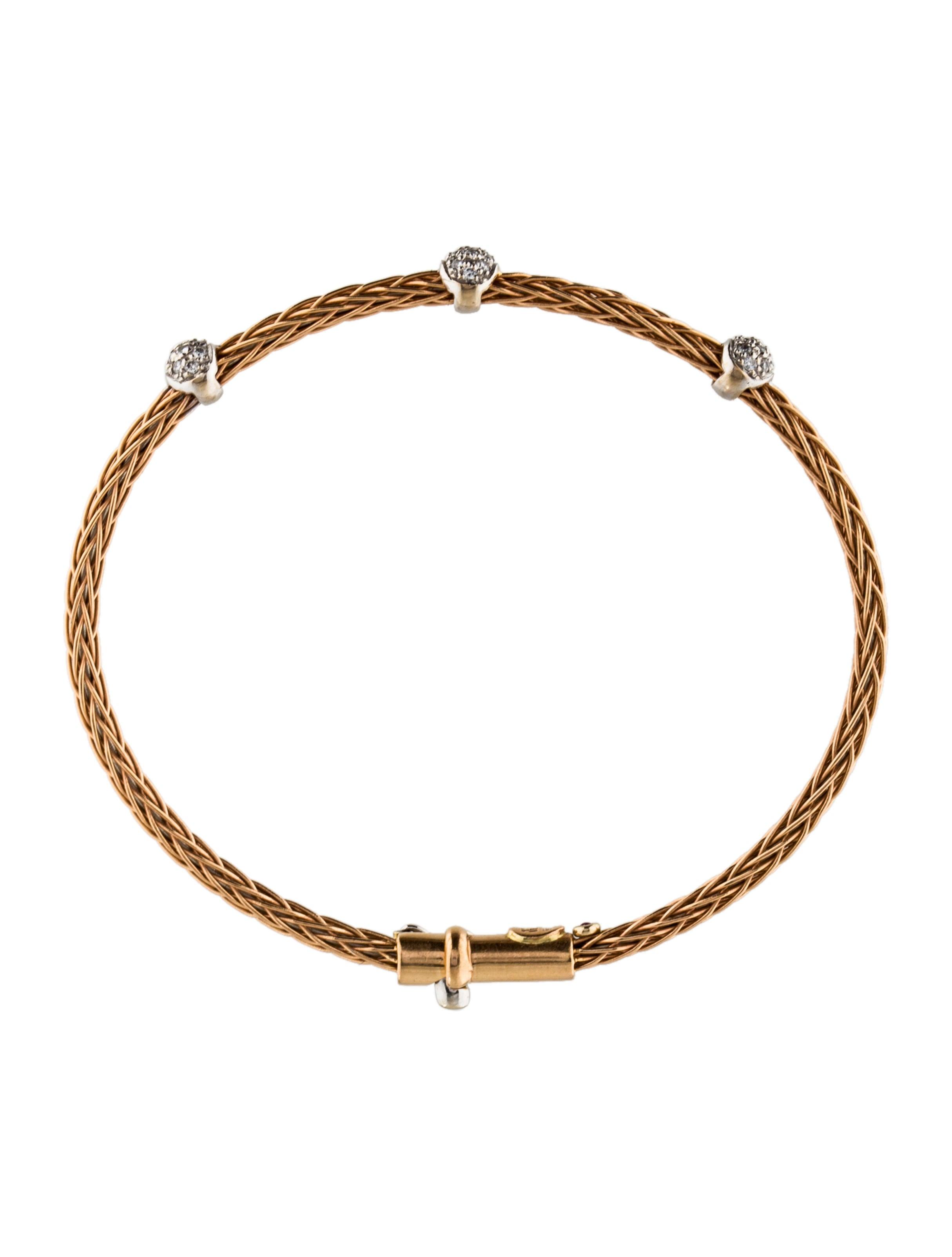 roberto coin 18k spiga diamond station bangle bracelets. Black Bedroom Furniture Sets. Home Design Ideas