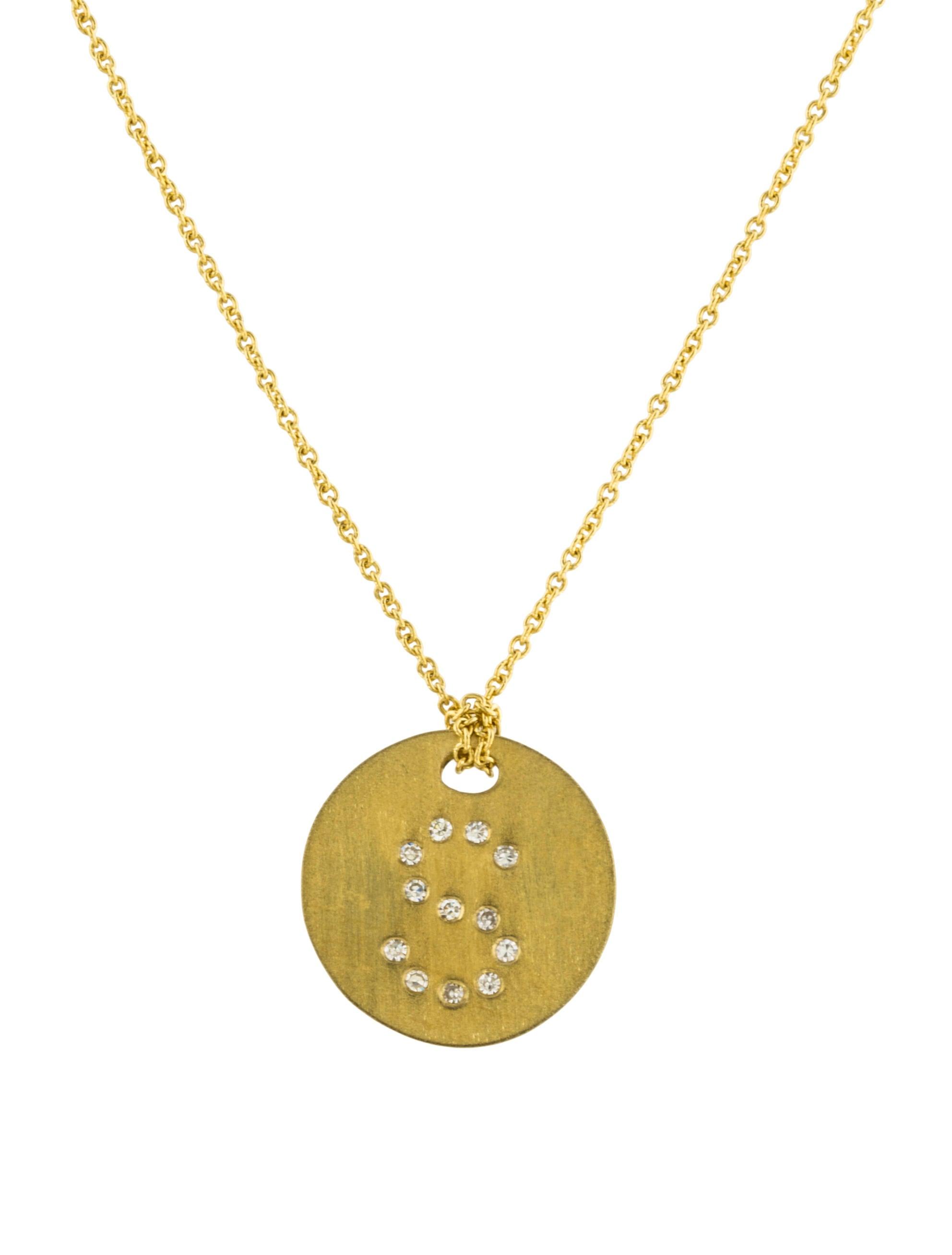 Roberto coin 18k diamond letter medallion pendant necklace for Roberto coin letter pendant