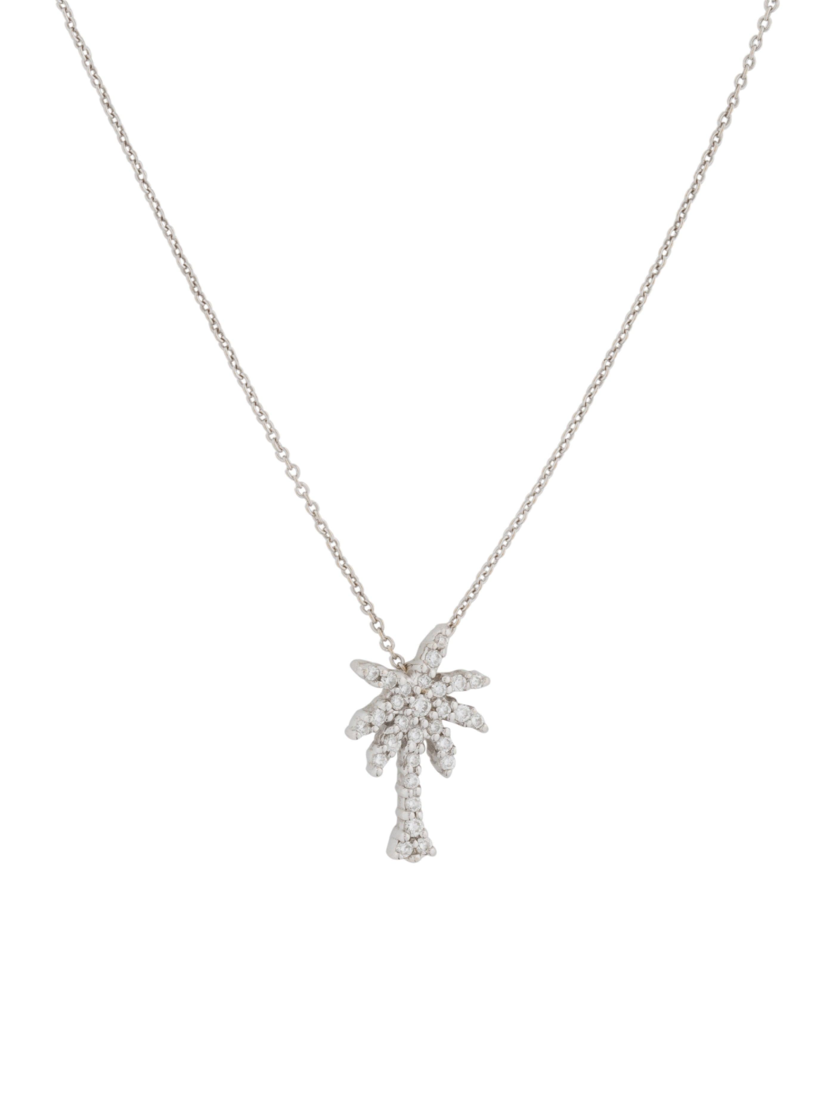 Roberto coin 18k diamond palm tree pendant necklace necklaces 18k diamond palm tree pendant necklace aloadofball Images