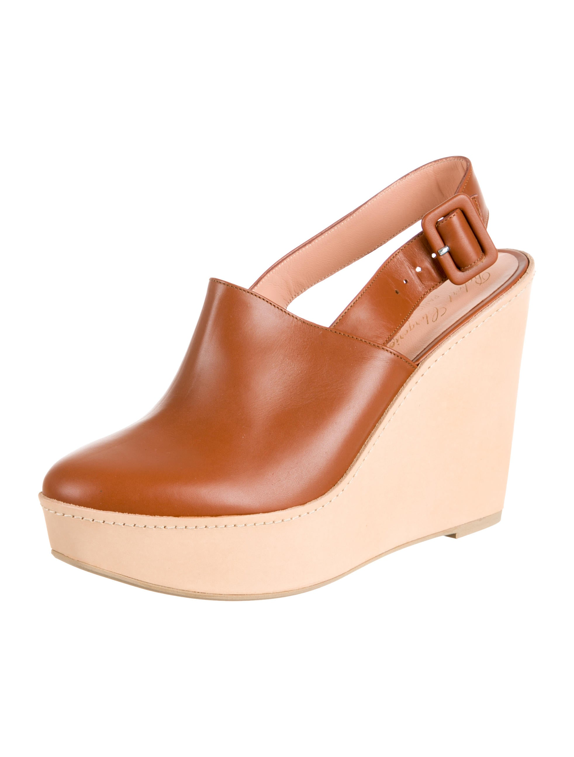 Robert Clergerie Leather Round-Toe Wedges w/ Tags outlet cheap price with mastercard discount Cheapest outlet explore free shipping for sale YtLQZ
