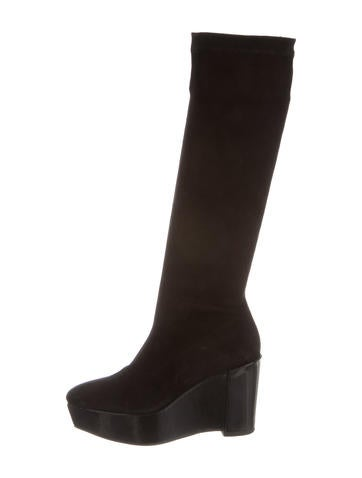 robert clergerie suede knee high wedge boots shoes