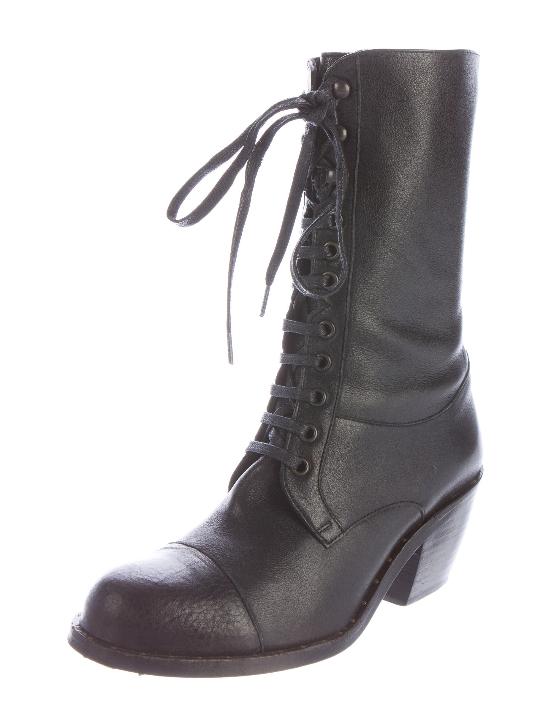 robert clergerie leather lace up ankle boots shoes