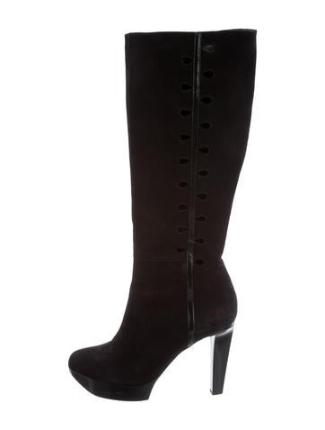 Robert Clergerie Suede Platform Knee-High Boots