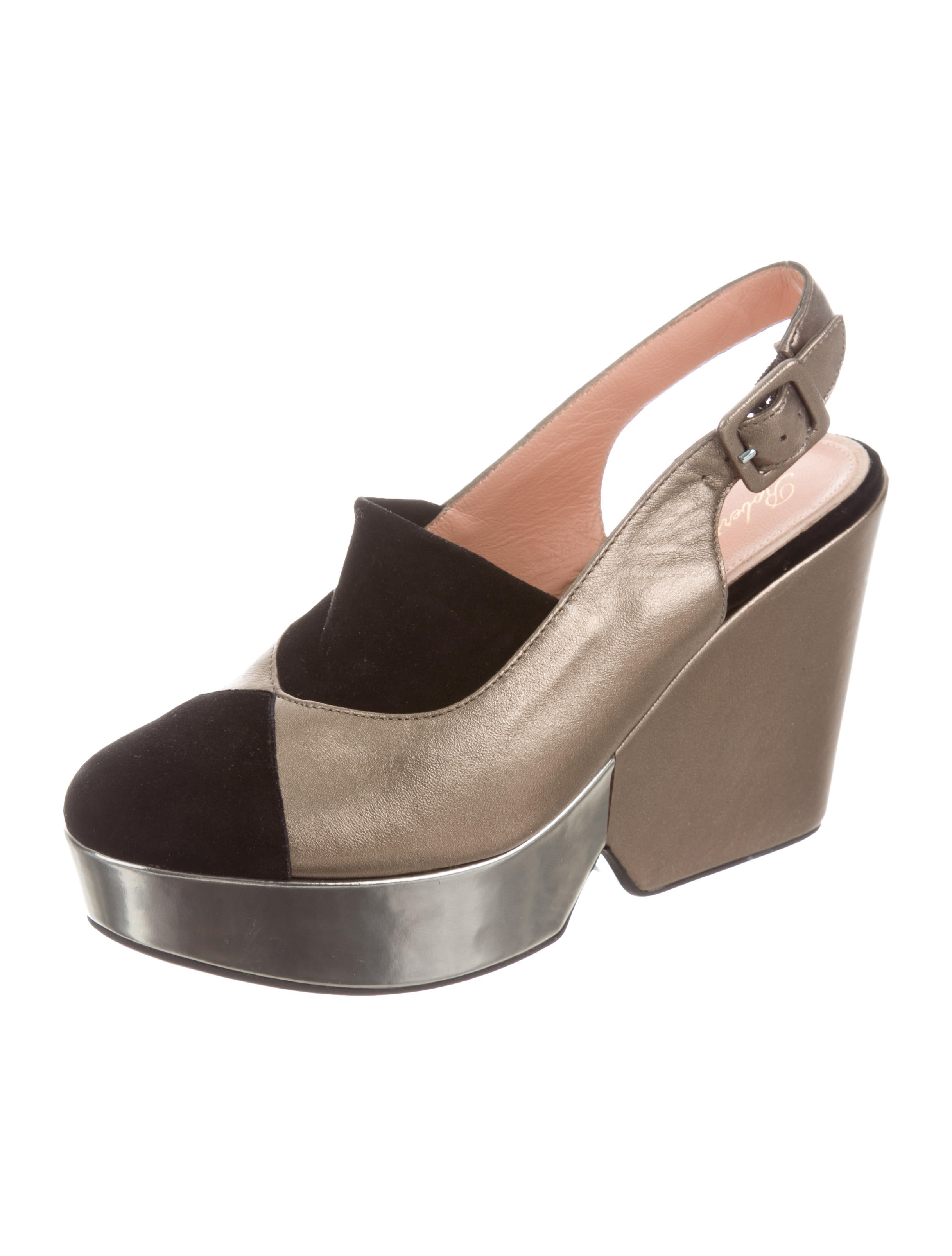 robert clergerie metallic platform wedges shoes